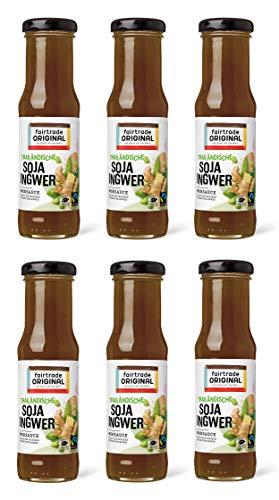 6 x 150 ml Soja Ingwer Soße von Fairtrade Original | süße Sauce | Thai Marinade | Woksauce | Soy Ginger Soße | Gewürzsauce für asiatische Speisen | für Rindfleisch, Hähnchen, Fisch, Gemüse