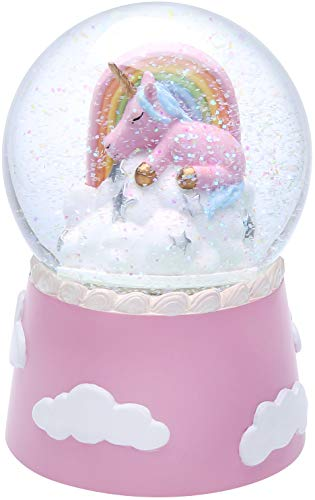 J JHOUSELIFESTYLE Unicorn Snow Globe Musical for Kids, Sleeping Unicorn and Rainbow Rotating Inside as Music Plays… 3