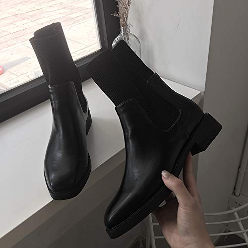 Shukun enkellaarsjes Skinny laarzen korte buis plat herfst en winter dikke hak laarzen Women'S korte laarzen Martin laarzen stretch sokken laarzen