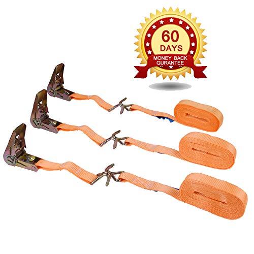 Cinghia Fissaggio a cricchetto con doppio gancio a J,3 x cinghie tiranti regolabili 6 m x 25 mm per legare fino a 1200 kg