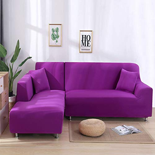 NOBCE Funda de sofá elástica con Todo Incluido Funda de sofá Sala de Estar Combinación antiincrustante Cojín de sofá en Forma de L Morado 190-230CM
