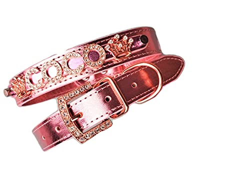 Rhinestone Dog Collar   Bling Dog Collar   Presonalized Dog Collar   The Pastels   XS S M or L (L (13-16.5'), Sparkle Pink)