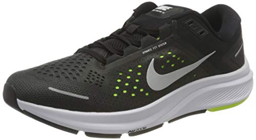 Nike Air Zoom Structure 23, Running Shoe Hombre, Black/Metallic Silver-Volt-Anthracite-White, 42.5 EU