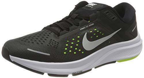 Nike Air Zoom Structure 23, Zapatillas para Correr Hombre, Black Mtlc Silver Volt Anthracite White, 38.5 EU