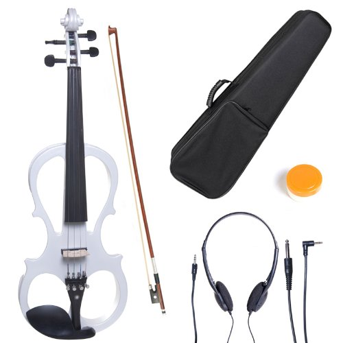 Cecilio 3/4 CEVN-1W Solid Wood Electric/Silent Violin with Ebony Fittings in Style 1 - Pearl White