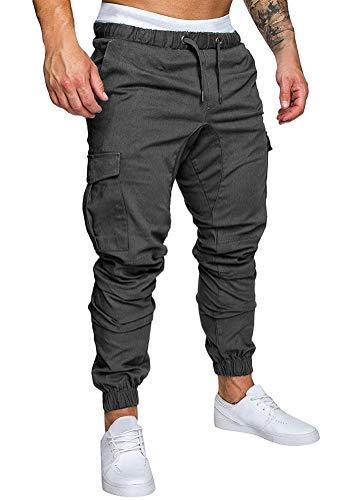 Minetom Herren Hose Chino Sommer Herbst Stretch Freizeithose Hosen Jogger Cargo Pants Mode Casual Mit Taschen Dunkelgrau X-Small