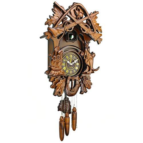 Reloj De Cuco De La Selva Negra, Reloj De Pared De Cuco Colgante De Madera Vintage con Mecánico Hecho A Mano Sala De Estar Restaurante Dormitorio Decoración Arte Parada Automática