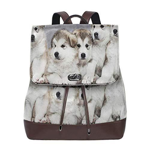 SGSKJ Mochila de Cuero Mujer Bolso Cachorros de Alaskan Malamute 2 Estudiante Casual Bolsa La Universidad Bolsa de Viaje de Cuero Mochila Mujer
