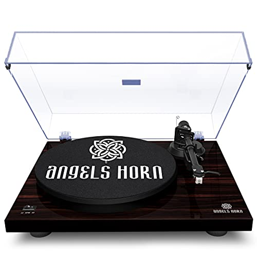 ANGELS HORN Turntable, Vinyl Record Player, Built-in Phono Preamp Belt Drive 2-Speed, Adjustable Counterweight, AT-3600L (Mahogany Wood)