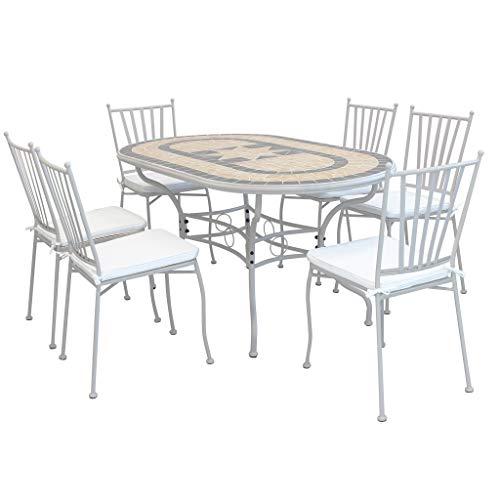 Milani Home S.R.L.S. Set Tavolo Giardino Ovale Fisso Con Piano In Mosaico 160 X 90 Con 6 SEDIE In Ferro Tortora Per Esterno