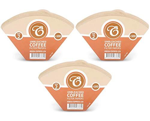 EDESIA ESPRESS - 300 filtri caffè americano in carta non sbiancata - forma a cono - misura 2