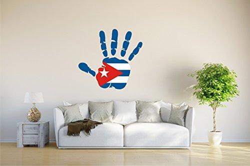 Wandtattoo - CH - Fahne in der Hand - Cuba - Kuba - 61x58 cm