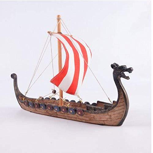 HYCy Modelo de velero Barco dragón Vikingo decoración de Barco dragón Talla de Resina artesanía decoración del hogar Barco Vikingo Modelo de Vela Juguete Regalo 25.5X17.5X5.5Cm