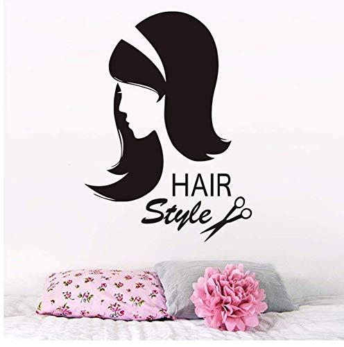 Friseur Wandaufkleber Vinyl Schere Sex Mädchen Haarschnitt Wandtattoo Innen Friseur Abnehmbare Frisur Beauty Salon 43 * 59Cm