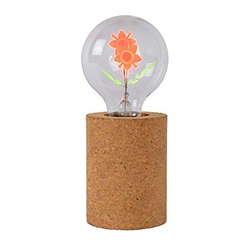 Lucide 03519/03/43 Corky Lampe de Table, Bois, E27, 3 W, Brun, 8 x 8 x 19 cm