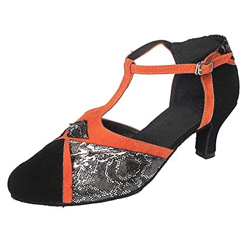 Chaussures de danse latine pour femme 6,3 cm à talon cubain et bout fermé Semelle souple, orange (Orange), 39 EU