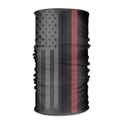 dingjiakemao USA Thin Red Line Flag Quick Dry Microfiber Headwear Outdoor Magic Bandana As Neck Gaiter Head Wrap Headband Scarf Face Mask Ultra Soft Elastic One Size