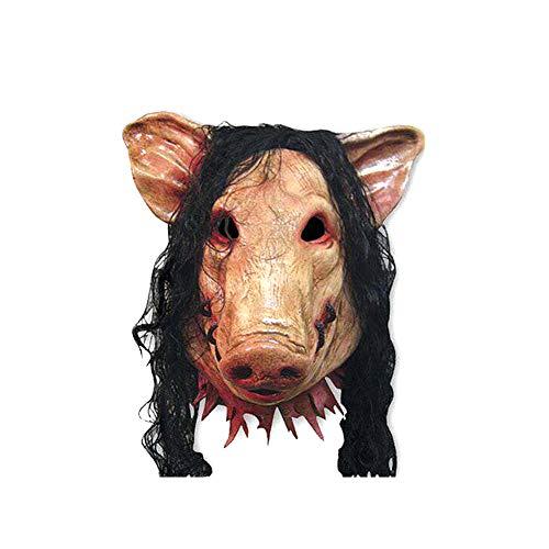 CDKJ Máscara de Halloween Cerdo Cabeza en Forma de máscara con la máscara de Animal de Pelo Horrible Cosplay Traje de Mascarada de látex