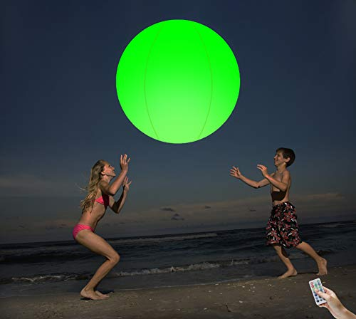 Beach Ball Glow 16'' Pool Toys 13 Colors Inflatable LED Light Up Beach Ball with Remote Glow in The Dark Home Indoor Outdoor Games Patio Garden Swimming Party Decorations(1 PCS)