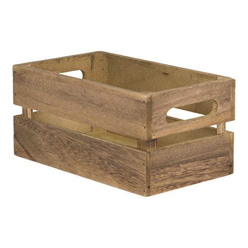 Securit vintage mini trälåda bordscaddy – 5 x 9 cm förvaringsbox kryddhållare. redskapshållare för silvervaror organisatör