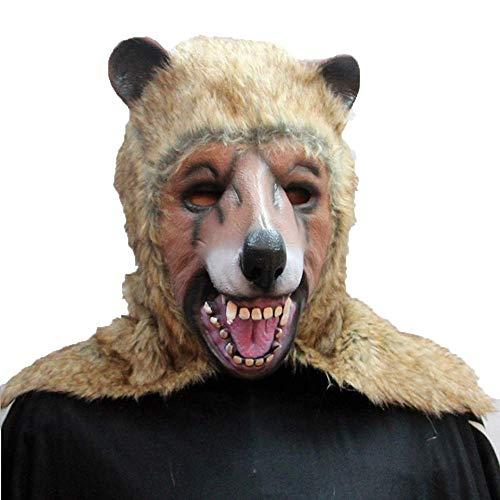 TTCXDP Latex Masker, Bruin Beer Masker Halloween Horror Masquerade Nachtclub Party Cosplay Volwassen Mannen En Vrouwen Prop Kleding Geschikt voor Carnaval Halloween Holiday
