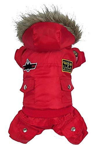 Morezi Small Dog Apparel Airman Fleece Winter Coat Snowsuit Hooded...