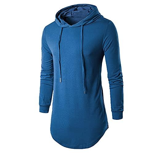 Camiseta de los hombres de otoño con capucha de los hombres camiseta azul