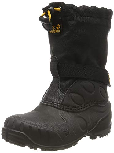 Jack Wolfskin Unisex-Kinder Iceland HIGH K Schneestiefel, Black/Burly Yellow Xt, 36 EU