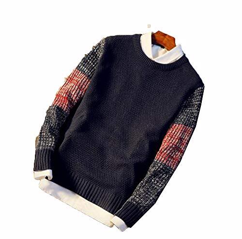 New Men's Sweater Round-Collar Slim Knitted Shirt Pure-Coloured Bottom Shirt For Men Blue XL