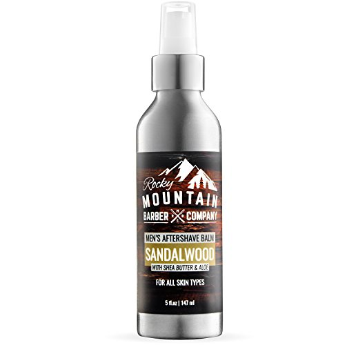 Aftershave Balm For Men – With Natural Sandalwood Essential Oil – 5 Ounce – Moisturizer Face Cream to Prevent Razor Burn & Dry Skin After Shaving by Rocky Mountain Barber Company