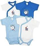 4er Pack Baby Jungen Bodys Wickelbodys Kurzarm Baumwolle Sailor Gr. 56 (1M)