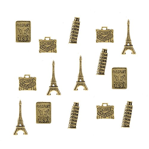 Travel Themed Metal Push Pins, Gold Finish, 4 Styles - Eiffel Tower, Leaning Tower of Pisa, Suit Case, Passport 15 Piece Set