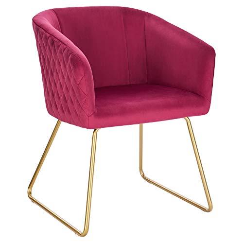 WOLTU BH271bd-1 1x Esszimmerstühle Küchenstuhl Polsterstuhl Wohnzimmerstuhl Sessel mit Armlehne, Sitzfläche aus Samt, Metall Gold Beine, Bordeaux
