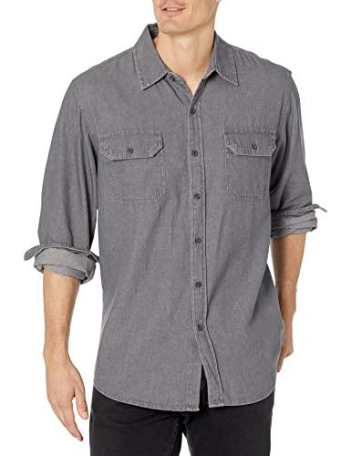 Wrangler Authentics Men's Long Sleeve Classic Woven Shirt, Grey,...