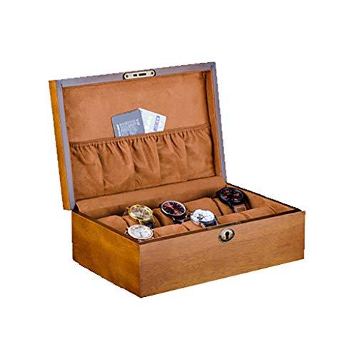JeweR 2 Grille boîte de Montre boîte à Bijoux boîte à Bijoux en Bois Massif avec Serrure Bracelet Bracelet Affichage de Stockage de Bijoux boîte de Montre Collection boîte Cadeau (Color : B)