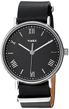 Timex Men s TW2R28600 Southview 41mm Black/Silver-Tone Leather Strap Watch