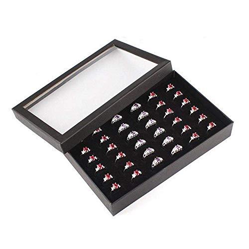 WOZUIMEI Caja de Almacenamiento de Anillo de 36 Ranuras Caja de Exhibición de Oreja Caja de Joyería Almacenamiento Caja de Exhibición de Ventana Transparente