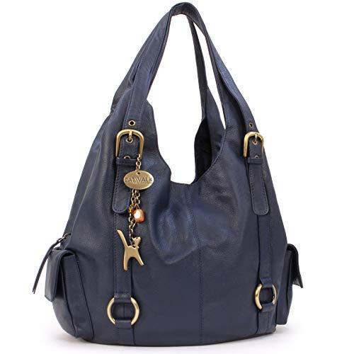 Catwalk Collection Handbags - Leder - Umhängetasche/Schultertasche - ALEX - Marine Blau
