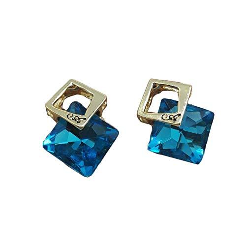 NO BRAND Geométrica Tridimensional Pendientes de Cristal de Diamante Temperamento Sencillo Chica (Color : Lake Blue)