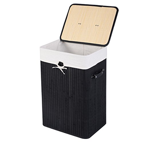 GOFLAME Bamboo Laundry Hamper Portable Dirty Clothes Storage Basket with Lid and Removable Liner Large Storage Clothes Bin with Handles Suitable for Bedroom Bathroom Kids Room Black