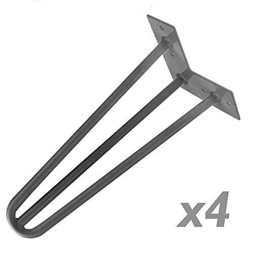 PrimeMatik - Pies para Mesa y Mueble Patas en Acero 3 Varillas 41 cm 4-Pack