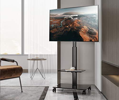 EONO Mobile TV 2 Ripiani Supporto TV con Staffa in Vetro Girevole, Regolabile in Altezza, da 19 a 60 pollici LCD LED, Porta TV ETT205505MB