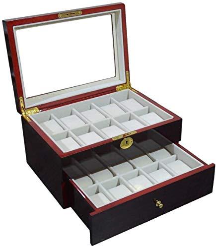 Caja de reloj de madera de sándalo rojo caja de reloj de alta calidad pintura en aerosol 20 relojes de almacenamiento caja de madera con cerradura cajas de reloj organizador colección