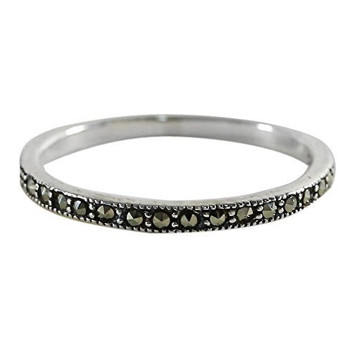 NOVICA Marcasite .925 Sterling Silver Delicate Band Ring 'Glistening Road'