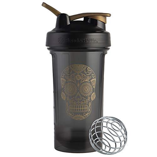BlenderBottle Sugar Skull Pro Series 24-Ounce Shaker Bottle, Black/Gold