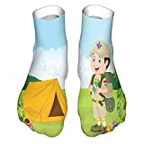Men's and Women's Funny Casual Socks Little Boy Scout with Tent in Nature Forest Adventure Child