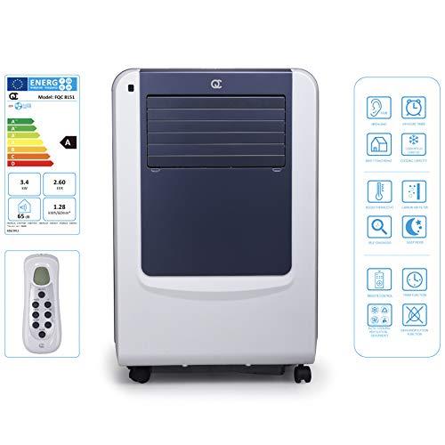 Flinq Slim Line Mobile Klimaanlage 12.000 BTU | Mobiles Klimagerät mit Abluftschlauch, Fernbedienung und Fensterkitt für Räume bis 45qm | Kühlen, Entfeuchten und Lüften | max. 65db