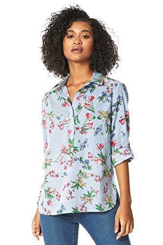 Roman Originals - Camicia da donna con stampa floreale gessata, stile...