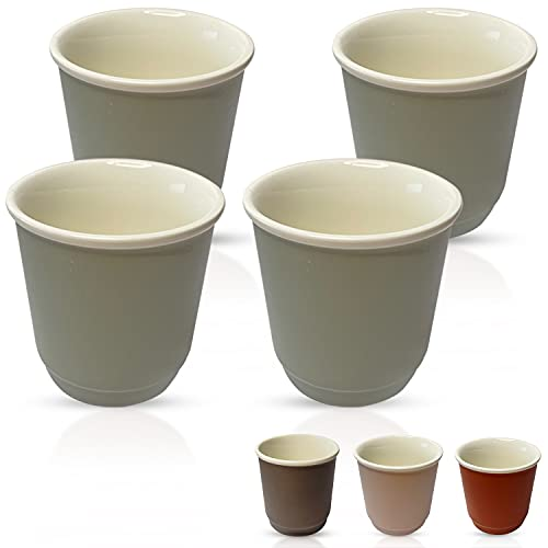 ABBIUTY - Juego de 4 tazas de café espresso de porcelana de 80 ml de capacidad, paredes gruesas y apilables, diseño rústico con colores mate y factor de bienestar, dimensiones 6,1 cm x 6 cm (menta)