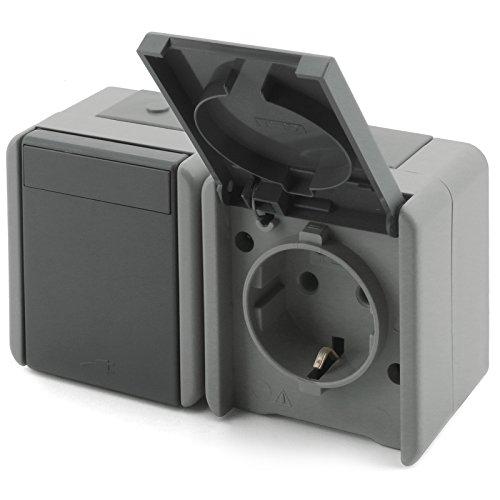 Feuchtraum Aufputz Schalter Steckklemmen Aufbau Außen Steckdose fach IP44 Grau (HOR.STECKDOSE 2fach CF14GY)
